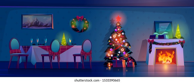Room at Christmas night, empty home interior with burning fireplace, decorated fir tree with gifts and presents and table with food and champagne in glasses. Xmas eve Cartoon vector illustration