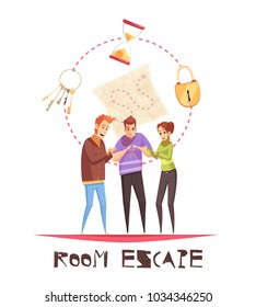 Room escape design concept with three adult gamers figurines and lock clock keys cartoon icons  vector illustration