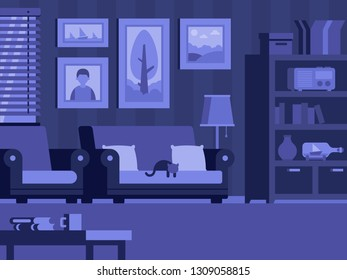 Room with furniture at night