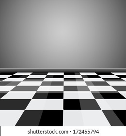 Room with glossy checkered floor pattern in perspective