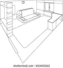 Room of a house cutaway - Isometric interior