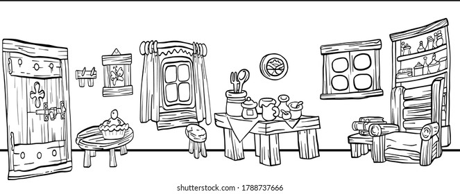 A room in the house with wooden furniture .Coloring pages for children.Vector illustration on a white background