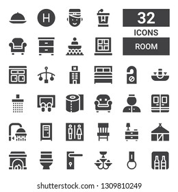 room icon set. Collection of 32 filled room icons included Minibar, Key chain, Chandelier, Door handle, Toilet, Fireplace, Hut, Nightstand, Chair, Locker, Shower, Door, Bellhop
