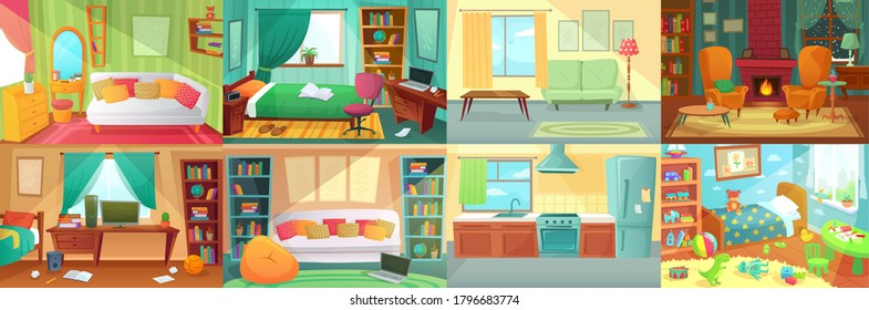 Room interior. Bedroom, living room, kitchen, kids bedroom with furniture. Teenage room with bed, table and computer. Kid or child room with toys and pictures. Fireplace with cozy chairs vector.