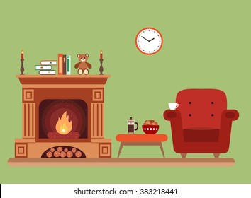 Room interior fireplace design with  chair books, table, clock in evening  tea time, fireplace. Flat style vector fireplace illustration of cozy room interior for your design, banners.