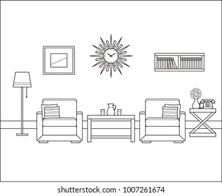 Room interior in line art. Retro living room. Vector. Linear vintage illustration. Thin line home space with armchairs, telephone, tables. Flat house equipment 60s. Outline sketch. Black, white furnit