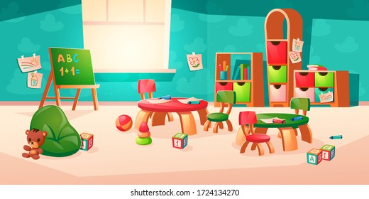 Room interior in montessori kindergarten with books on shelf, chalkboard, desk with chairs. Vector cartoon illustration of classroom with furniture, kids paintings, pencils and toys