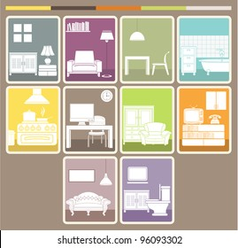 Room interior and objects set. Vector illustration.