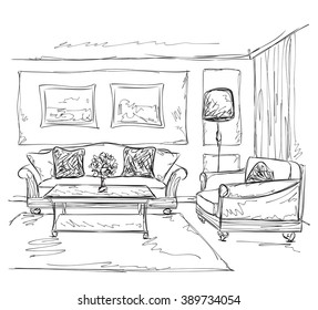 Room interior sketch. Hand drawn sofa and chair