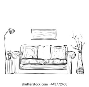 Room interior sketch. Hand drawn sofa and furniture.
