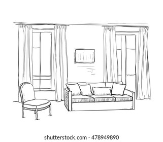 Room interior sketch. Window and furniture