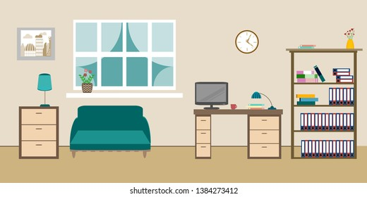 room interior with sofa shelves with books window and chest of drawers on a beige background