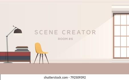 Room interior vector background
