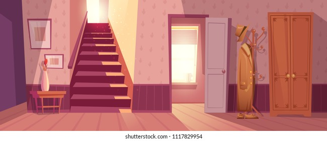 Room interior vector illustration of retro corridor or hallway entrance with furniture. Cartoon flat background of apartment stairs, coat and hat on hanger, shoe drawer and flower in vase on table