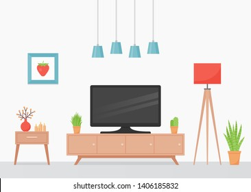 Room interior. Vector. Living room with TV, coral floor lamp and TV stand. Modern house background with furniture. Home inside. Domestic apartment. Cartoon illustration. Banner in flat design.