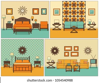 Room interiors. Vector. Linear living room and bedroom with furniture. Retro house scene. Flat line art style home illustration. Set outline sketch. Vintage design. Hotel background with bed and sofa.