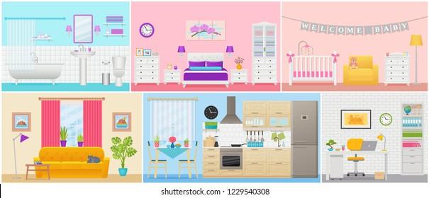 Room interiors. Vector. Living room, bedroom, bathroom, nursery, kitchen, workplace in flat design. Home inside. Cartoon apartment with window. House, hotel equipment, furniture. Set illustration.