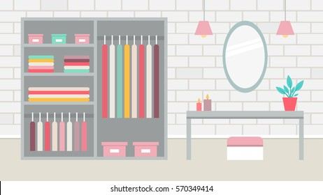 A room with a large wardrobe, a dressing room. Vector illustration