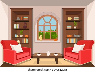 Room with large window and forest view, flat interior, colorful drawing, vector illustration. living room with cabinets with books, vases and plants in pots, armchairs with pillows and coffee table