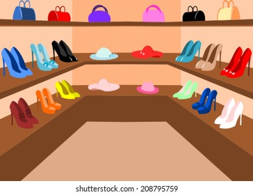 A room with lots of girl's shoes, hats and bags