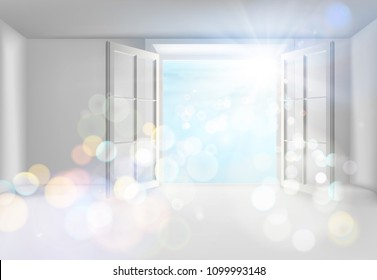 Room with an open window. Vector illustration.