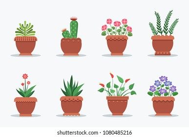Room plants collection pots, set house flowers in blossom, housepots of brown color, vector Illustration isolated on white background