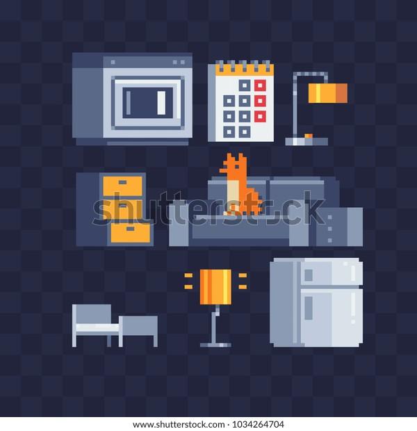 Room Rent Cozy Apartment Interior Studio Stock Vector