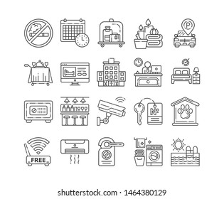 Room service black line icons set. Amenities for for guests signs. Hotel resort. Vacation. Reservation apartament.Pictograms for web page, mobile app, promo. UI/UX/GUI design elements. Editable stroke