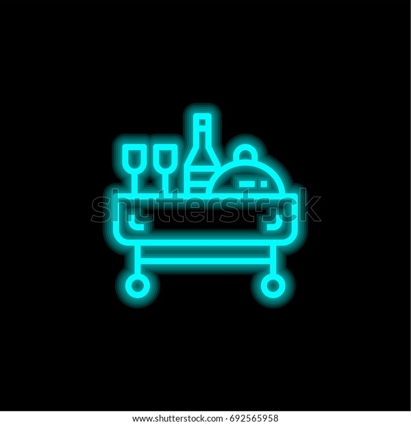 Room service blue glowing neon ui ux icon. Glowing sign logo vector