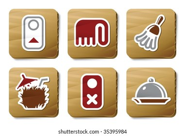 Room service icons. Vector icon set. Three color icons on cardboard tags.