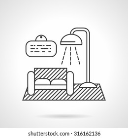 Room with sofa and lamp. Thin line vector icon. Symbol for rental of house. Elements for web design and business