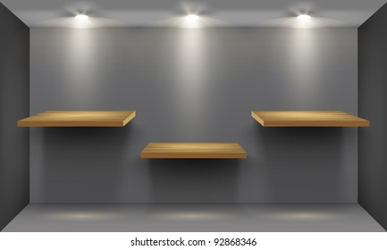 Room with three empty wooden shelf, illuminated by searchlights. Part of set. Vector interior.