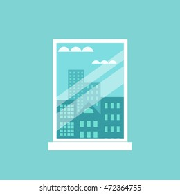 Room window flat illustration. Vector cityscape  window framed illustration. Concept of urban buildings view.