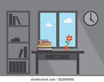 room window long shadow furniture office table books and flower vector flat illustration