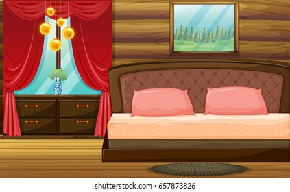 Room with wooden bed and red curtain illustration