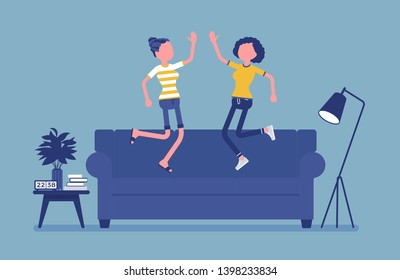 Roommate friends enjoy living together. Happy young girls occupying same flat, house or room, students share rented apartment, jumping on a coach in hostel. Vector illustration, faceless characters