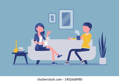 Roommate friends enjoy living together. Young girls occupying one flat, house, room, students share rented apartment, relax on a coach in hostel, lodging. Vector illustration, faceless character