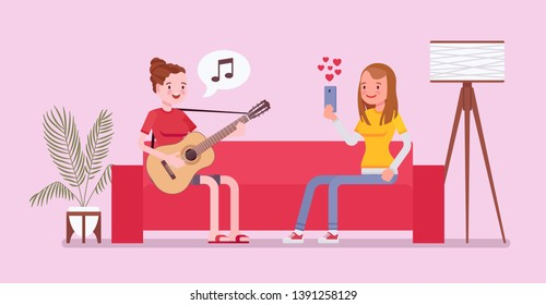 Roommate friends streaming. Happy young girls record playing guitar, singing, listening to music, watching in real time, show and enjoy internet videos and webcasts of live events. Vector illustration