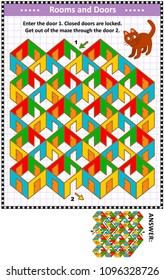 Rooms and doors colorful maze game: Help the red cat. Enter the door 1. Get out of the maze through the door 2. Answer included.