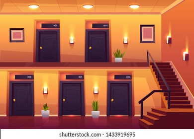 Rooms in hotel corridor with stairs on second floor, empty luxury hotel hallway interior cross section view with numbered doors, lamps, plants and tiled floor, motel hall. Cartoon vector illustration