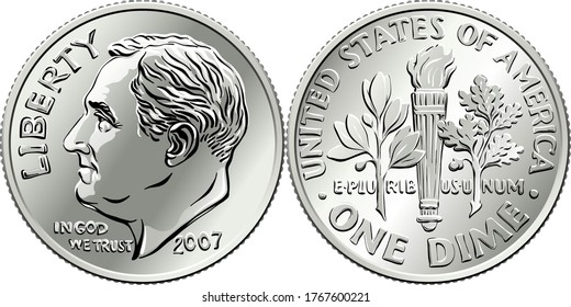 Roosevelt dime, United States one dime or 10-cent silver coin, President Franklin Roosevelt on obverse and olive branch, torch, oak branch on reverse