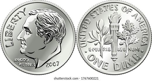 Roosevelt dime, Vereinigte Staaten eine Münze oder 10 Cent Silbermünze, Präsident Franklin Roosevelt auf dem Hintergrund und auf dem Olivenzweig, Fackel, Eichenbrücke auf der Rückseite