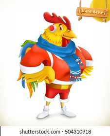 Rooster. Animal 2017. New Year mascot. 3d vector cartoon character