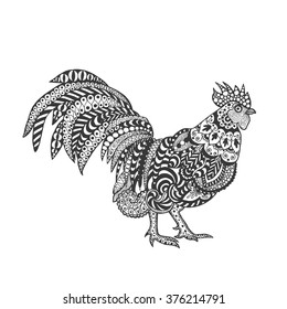 Rooster. Birds. Black white hand drawn doodle. Ethnic patterned vector illustration. African, indian, totem, tribal, design. Sketch for adult antistress coloring page, tattoo, poster, print, t-shirt