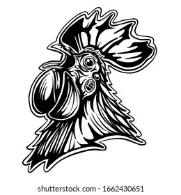 Rooster black and white illustration.