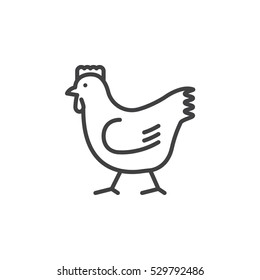 Rooster, chicken line icon, outline vector sign, linear pictogram isolated on white. Symbol, logo illustration