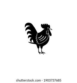 Rooster. Chiken. Flat Vector Illustration