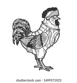 Rooster cock bird in knight armor sketch engraving vector illustration. Tee shirt apparel print design. Scratch board style imitation. Black and white hand drawn image.