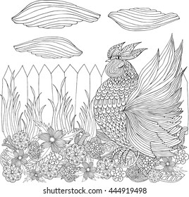 Rooster (cock) in  flower garden . Hand drawn sketch. Page for coloring book. Doodle, zentangle design. Symbol of 2017. Vector illustration. Black and White sample.