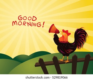 Rooster Crowing and Announcing with Megaphone, Good Morning, Fence, Farm and Hill Background